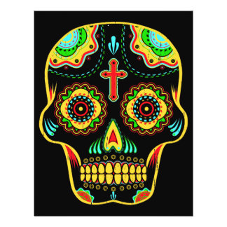 Full color sugar skull 21.5 cm x 28 cm flyer