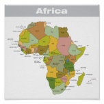 Full Colour Map of Africa Poster