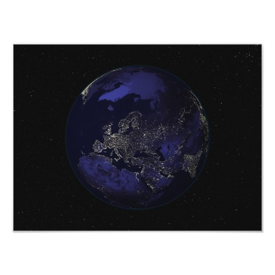 Full Earth at night showing city lights 3