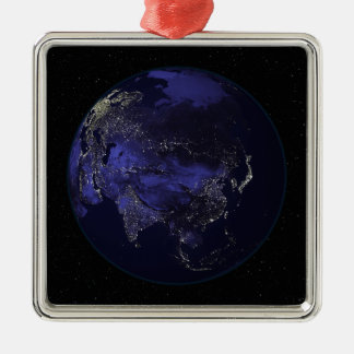 Full Earth at night showing city lights Christmas Ornament