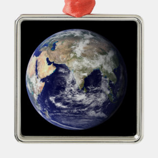 Full Earth showing Europe and Asia Silver-Colored Square Decoration