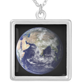 Full Earth showing Europe and Asia Silver Plated Necklace