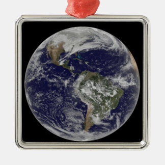 Full Earth showing North America and South Amer 6 Christmas Ornament
