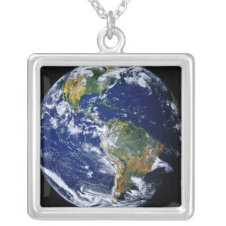 Full Earth Showing The Americas Silver Plated Necklace