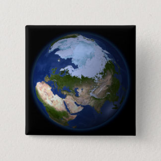 Full Earth showing the Arctic region 15 Cm Square Badge
