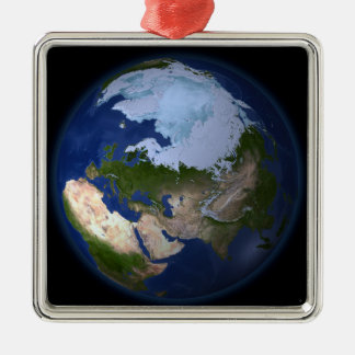 Full Earth showing the Arctic region Christmas Ornament