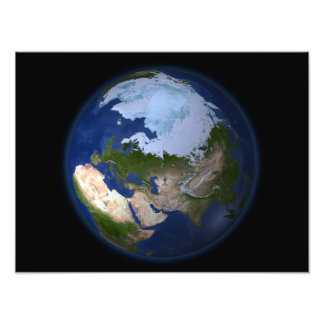 Full Earth showing the Arctic region Photo Print
