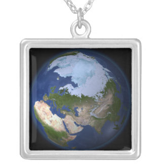 Full Earth showing the Arctic region Silver Plated Necklace