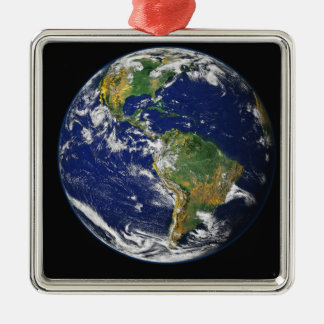 Full Earth showing the western hemisphere Silver-Colored Square Decoration