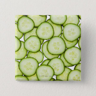 Full frame of sliced cucumber, on white 15 cm square badge