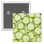 Full frame of sliced cucumber, on white 15 cm square badge