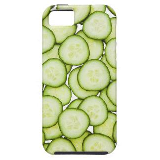 Full frame of sliced cucumber, on white iPhone 5 case