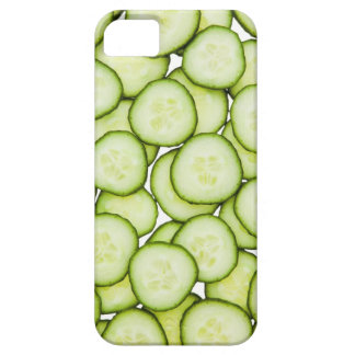 Full frame of sliced cucumber, on white iPhone 5 cover