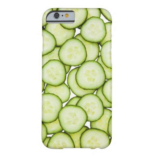 Full frame of sliced cucumber, on white iPhone 6 case