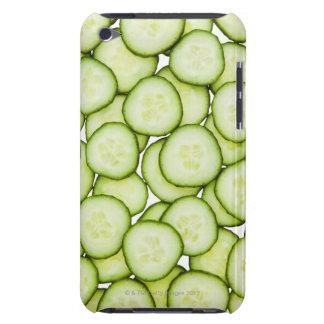 Full frame of sliced cucumber, on white iPod touch case