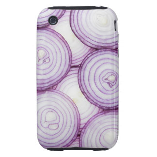 Full frame of sliced red onion, on white tough iPhone 3 case