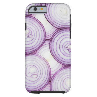 Full frame of sliced red onion, on white tough iPhone 6 case