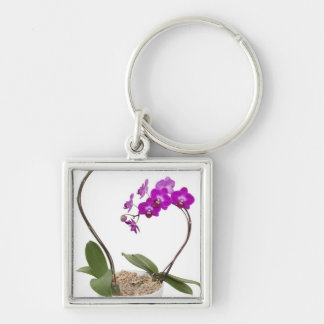 Full frame Orchid isolated on a white background Key Ring