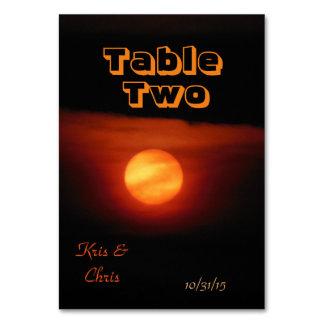 Full Harvest Moon Black Skies Wedding Theme Table Cards