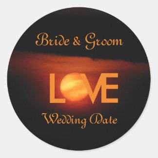 Full Harvest Moon Wedding Round Sticker