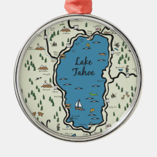 Full Lake Tahoe Area Map Christmas Ornament