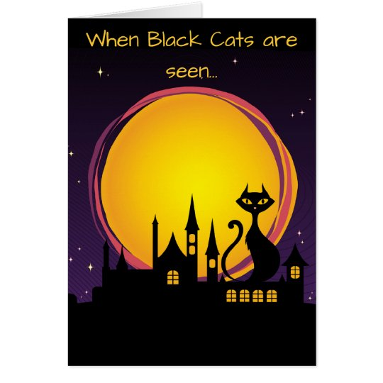 Full Moon and Black Cat Halloween Card