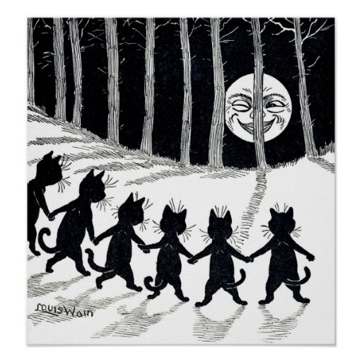 Full moon and Cats, Louis Wain Poster