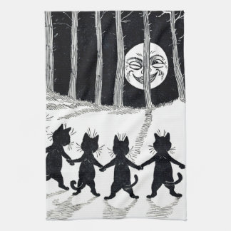 Full moon and Cats, Louis Wain Tea Towels