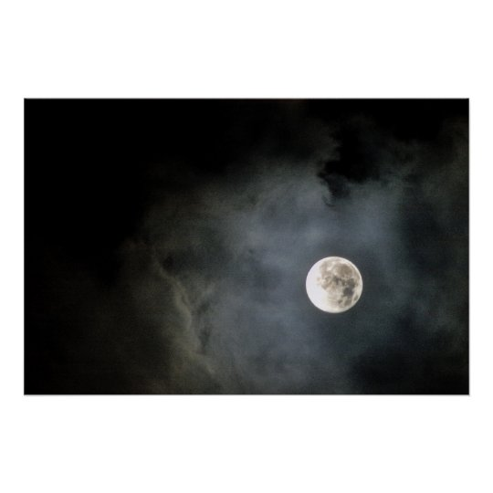 Full Moon and Clouds Poster