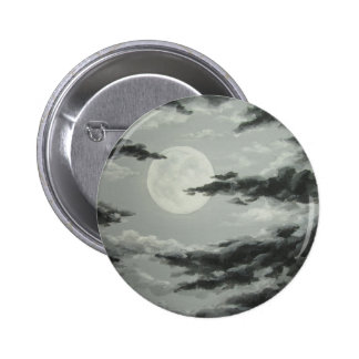 Full Moon and Cloudy Night Sky Button