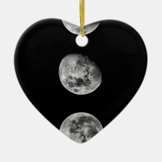 Full moon and crescent moon christmas ornament