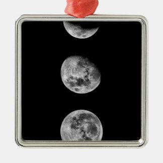 Full moon and crescent moon Silver-Colored square decoration