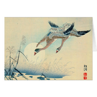 Full Moon and Flying Geese 1870 Greeting Card