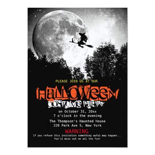 Full Moon and Witch Flaying Halloween Party Card