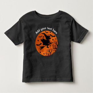 Full Moon and Witch Flaying on a Broom Halloween Toddler T-Shirt