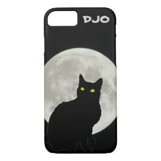 Full Moon Black Cat Looking Up iPhone 7 Case