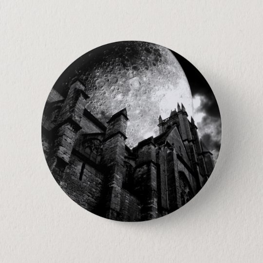 Full moon cathedral 6 cm round badge