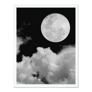 FULL MOON CLOUDS BLACK AND WHITE 11 CM X 14 CM INVITATION CARD