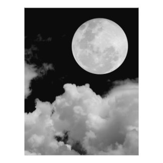 FULL MOON CLOUDS BLACK AND WHITE 21.5 CM X 28 CM FLYER