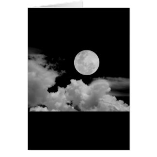 FULL MOON CLOUDS BLACK AND WHITE GREETING CARD