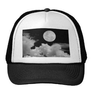 FULL MOON CLOUDS BLACK AND WHITE MESH HAT
