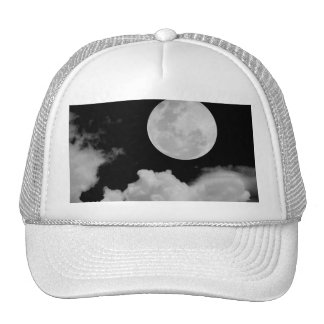 FULL MOON CLOUDS BLACK AND WHITE HAT