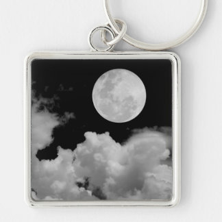 FULL MOON CLOUDS BLACK AND WHITE KEY CHAIN
