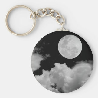 FULL MOON CLOUDS BLACK AND WHITE KEY RING