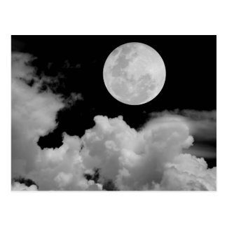 FULL MOON CLOUDS BLACK AND WHITE POSTCARD
