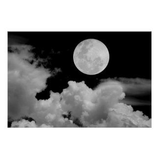 FULL MOON CLOUDS BLACK AND WHITE POSTER