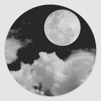 FULL MOON CLOUDS BLACK AND WHITE ROUND STICKER