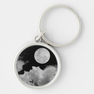 FULL MOON CLOUDS BLACK AND WHITE Silver-Colored ROUND KEY RING
