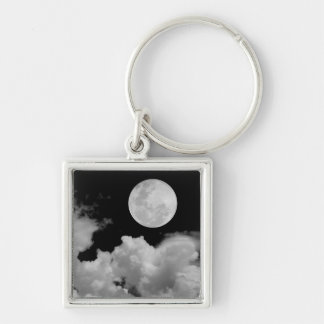 FULL MOON CLOUDS BLACK AND WHITE Silver-Colored SQUARE KEY RING