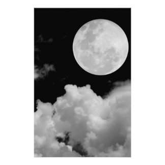 FULL MOON CLOUDS BLACK AND WHITE PERSONALIZED STATIONERY